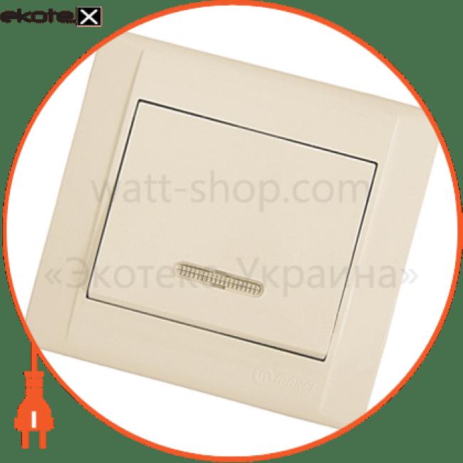 вимикач1-клавішний з підсвітленням выключатель Makel 42010021