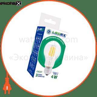 led лампа ledex 4w, е27, а60, 4000к, filament, ic - driver светодиодные лампы ledex Ledex 100205