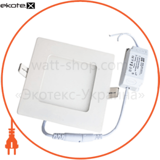 светодиодный светильник ledex, квадрат,  6w,  6500к холодно белый, матовое стекло, напряжение: ac100-265v, алюминий светодиодные светильники ledex Ledex 102160