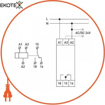 Enext i0310028 реле временного включения (0,3-30 сек) при подаче напряжения e.control.t16
