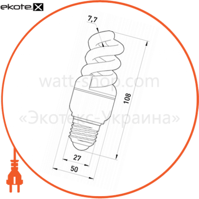 l0260027 Enext энергосберегающие лампы enext лампа енергозберігаюча e.save.screw.e27.20.4200.t2, тип screw, патрон е27, 20w, 4200 к, колба т2