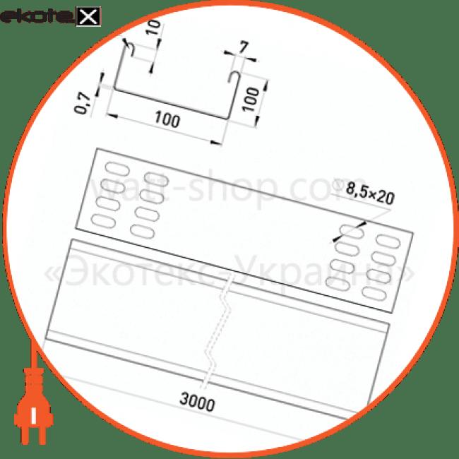 AA10-07n Enext лотки металлические и аксессуары лоток неперфорований 100х100, 3 м, товщ. 0,7 мм.