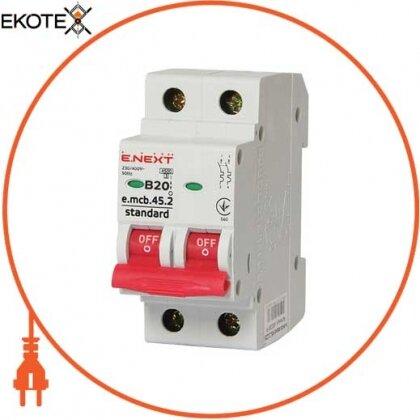 Enext s001018 модульный автоматический выключатель e.mcb.stand.45.2.b20, 2р, 20а, в, 4,5 ка