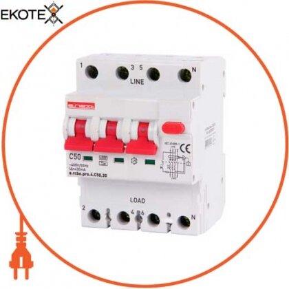 Enext p0720019 выключатель дифференциального тока с функцией защиты от сверхтоков e.rcbo.pro.4.с50.30, 3p+n, 50а, с, тип а, 30ма
