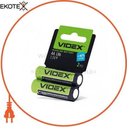 Videx Батарейка щелочная LR6/AA 2pcs shrink card 60 шт/уп