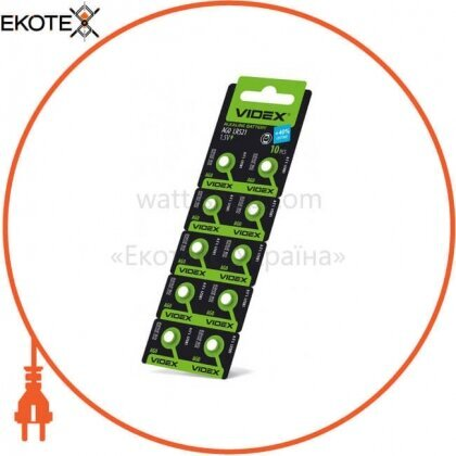 Videx 23264 батарейка часовая videx ag 0 (lr521) blister card 10 pc 100 шт/уп