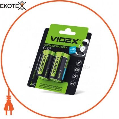 Videx 23332 videx батарейка щелочная lr14/c 2pcs blister card 24 шт/уп