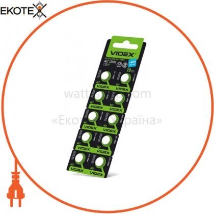Videx 23423 батарейка часовая videx  ag 7 (lr927)  blister card 10 pc 100 шт/уп