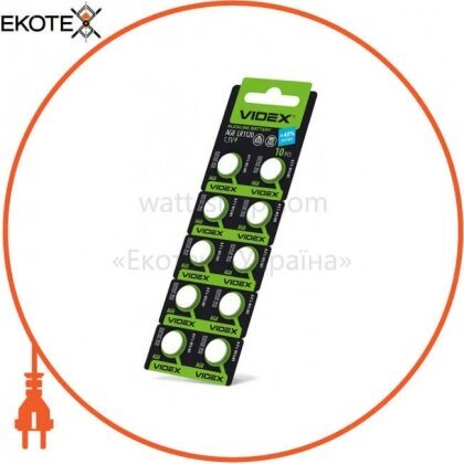 Videx 23424 батарейка часовая videx  ag 8 (lr1120)  blister card 10 pc 100 шт/уп