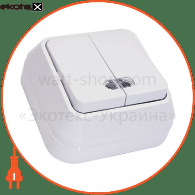 вимикач 2-клавішний з підсвітленням выключатель Makel 45023