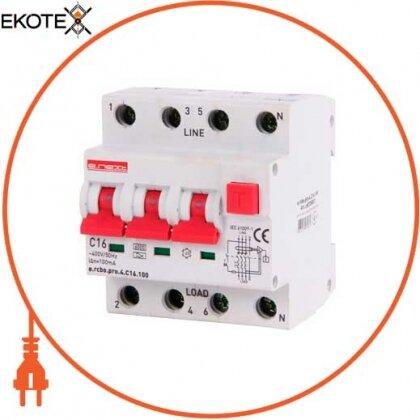 Enext p0720021 выключатель дифференциального тока с функцией защиты от сверхтоков e.rcbo.pro.4.с16.100, 3p+n, 16а, с, тип а, 100ма