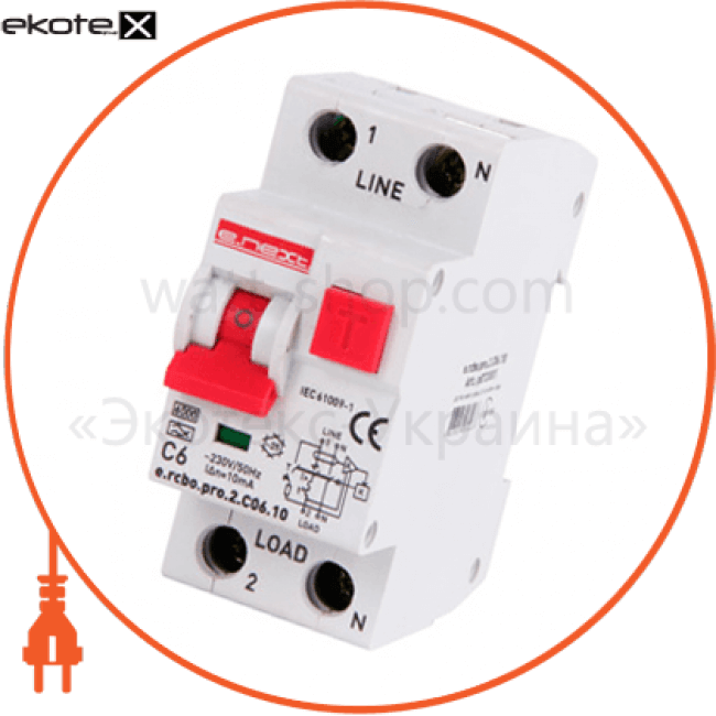 Enext p0720001 выключатель дифференциального тока с защитой от сверхтоков e.rcbo.pro.2.c06.10, 1p + n, 6а, с, тип а, 10ма