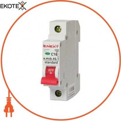 Enext s002008 модульный автоматический выключатель e.mcb.stand.45.1.c16, 1р, 16а, c, 4,5 ка