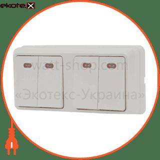 блок - 2 двухклав. выключ. с подсветкой 2вз10-21-cb-w выключатель АСКО-УКРЕМ 2ВЗ10-21-Cb-W