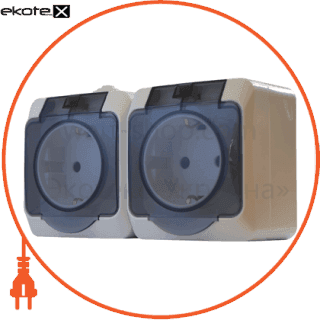 блок - 2 розетки 2р+pe  2рз16-з-ip44n арт. 2рз16-з-ip44n выключатель АСКО-УКРЕМ