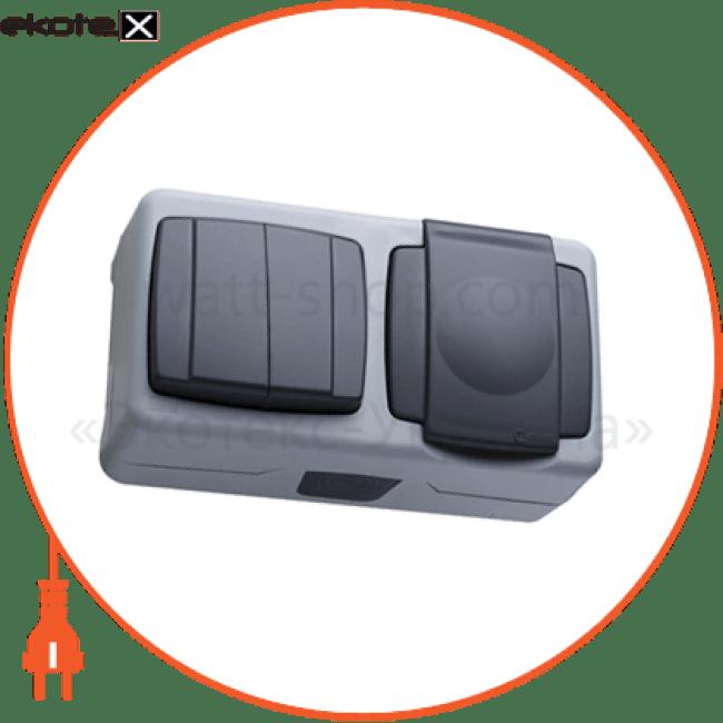 вимикач 2-клавішний+розетка з кришкою розетка Makel 36064203
