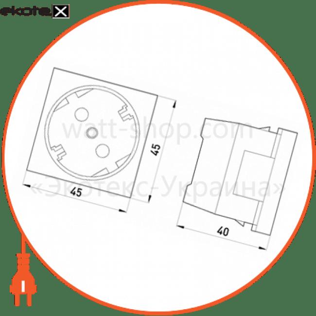 ADK-300001 Enext лотки металлические и аксессуары розетка силова с з/к нім. станд. зі шторками, 2 модуля 45x45 біла