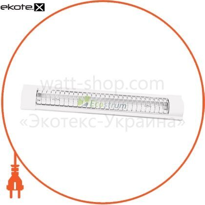 Ecostrum 68686 світильник люмінесцентний 2*18 с захисною рещіткою