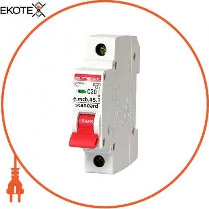 Enext s002009 модульный автоматический выключатель e.mcb.stand.45.1.c20, 1р, 20а, c, 4,5 ка