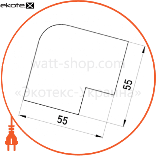 s3033013 Enext короб кабельный пластиковый плоский кут e.trunking.blend.angle.stand.39.19 для короба 39х19мм