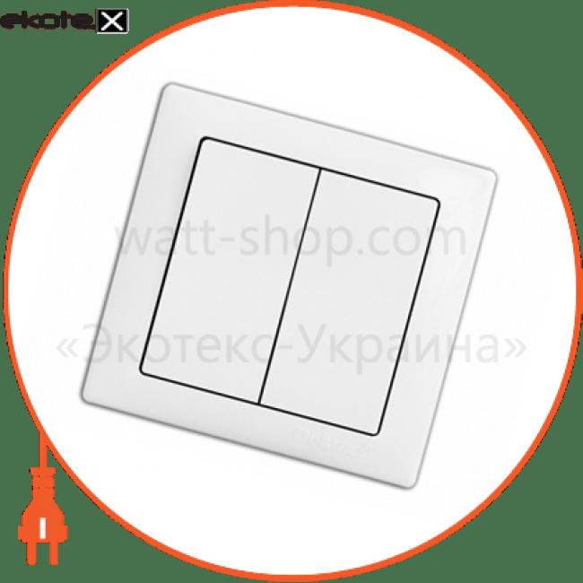 вимикач wega 9023 2-клавішний білий выключатель Delux 10040334