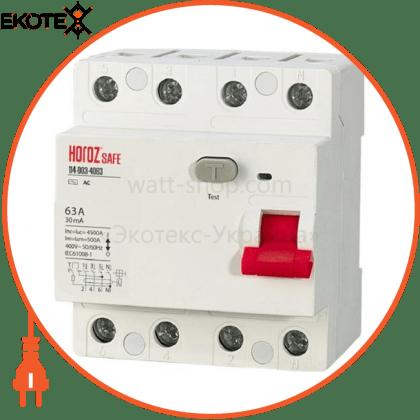 Horoz Electric 114-003-4063 дифференциальный автоматический выключатель 4р 63а 30ma 230v