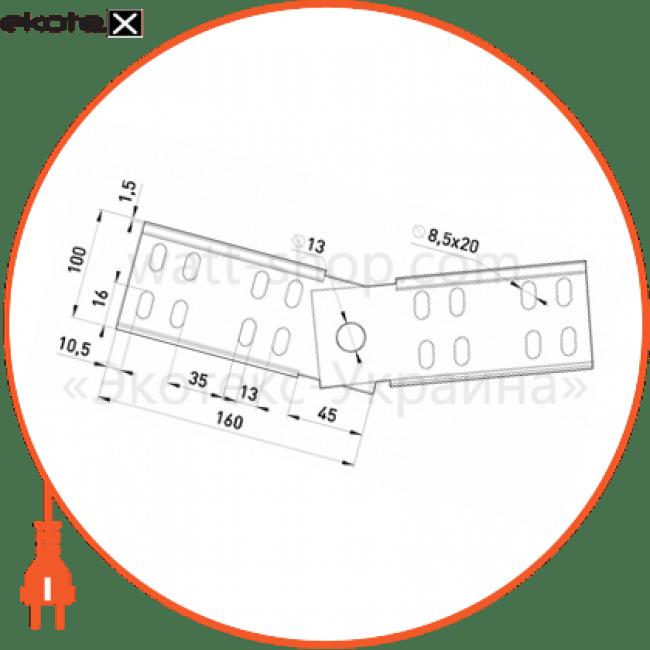 шарнірний з'єднувач 100 мм лотки металлические и аксессуары Enext 901-10A