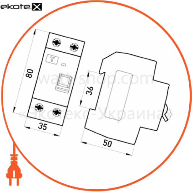 Enext p003010 выключатель дифференциального тока e.rccb.pro.2.63.100, 2р, 63а, 100ма