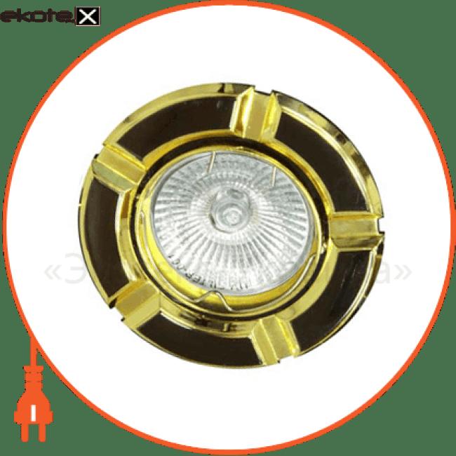 098т под mr-16 черный-золото/круглй/плоско-поворот.