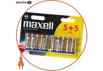 Maxell 790253.00 щелочная батарейка maxell alkaline aa/lr6 10 шт/уп (5+5)blister