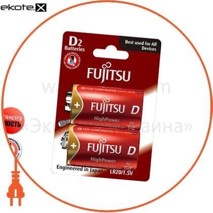 FUJITSU 84210 щелочная батарейка новой технологии fujitsu alkaline high power d/lr20 2шт/уп blister,  с увеличенным сроком эксплуатации и хранения заряда (до 10лет в упаковке). высокий уровень безопасности: защита от обратного цикла перезарядки (спецнакла