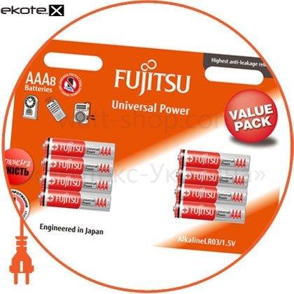FUJITSU 98390 щелочная батарейка fujitsu alkaline universal power  ааа/lr03 8шт/уп blister
