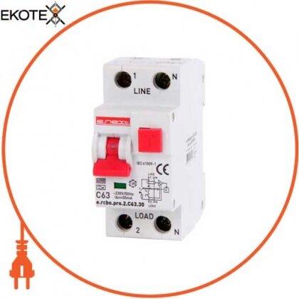 Enext p0720014 выключатель дифференциального тока с функцией защиты от сверхтоков e.rcbo.pro.2.с63.30, 1p+n, 63а, с, тип а, 30ма
