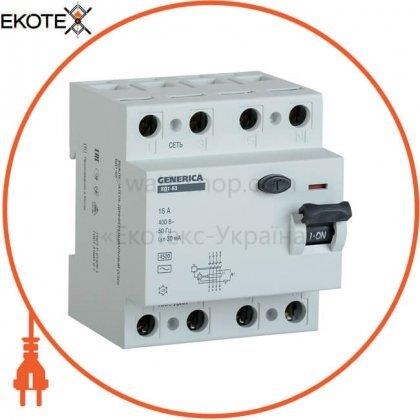 IEK MDV15-4-025-030 выключатель дифференциальный (узо) вд1-63 4р 25а 30ма generica