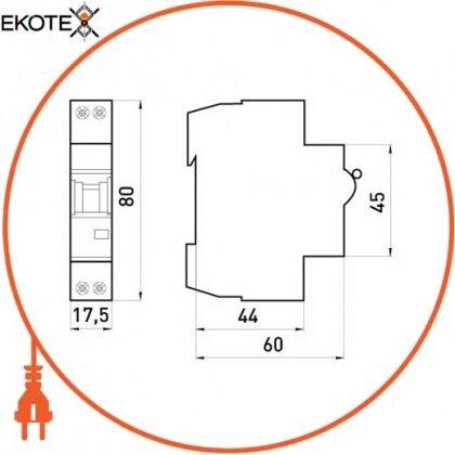 Enext i0170005 модульный автоматический выключатель e.industrial.mcb.60.1n.c25.thin, 1 + n р, 25а, c, 6ка