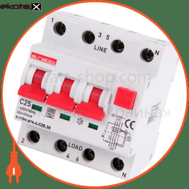 p0720016 Enext дифференциальная защита вимикач диференційного струму з захистом від надструмів e.rcbo.pro.4.c25.30, 3p+n, 25а, с, тип а, 30ма