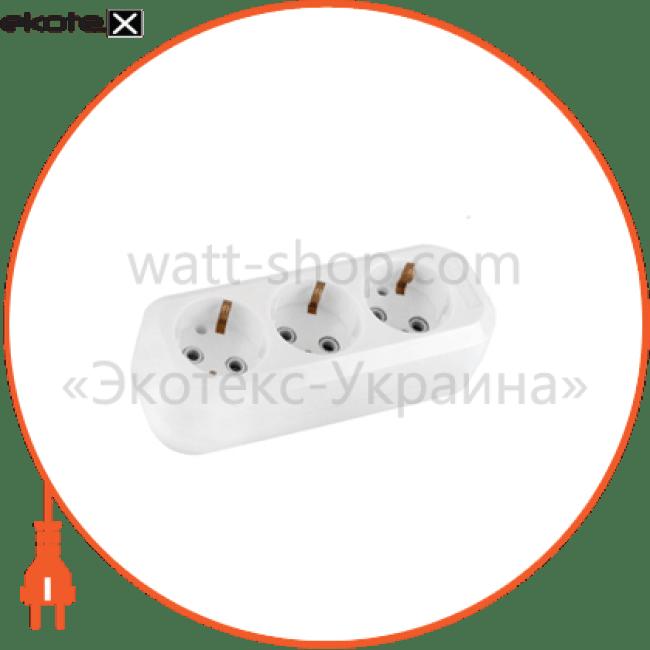 розеточный блок sm-3e 3 гнезда с заземл.  c-sm-1778 колодка Electrum C-SM-1778