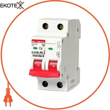 Enext s002015 модульный автоматический выключатель e.mcb.stand.45.2.c6, 2р, 6а, c, 4,5 ка