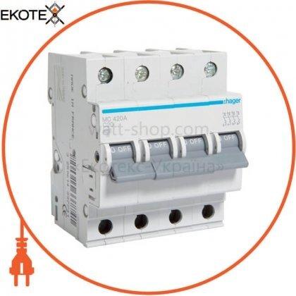 Hager MC420A автоматический выключатель 4p 6ka c-20a 4m