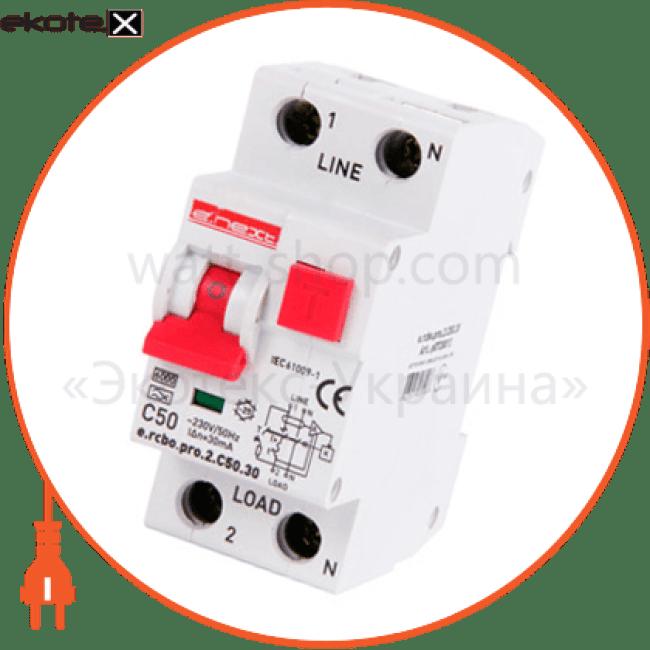 Enext p0720013 выключатель дифференциального тока с защитой от сверхтоков e.rcbo.pro.2.c50.30, 1p + n, 50а, с, тип а, 30ма