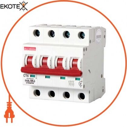 Enext i0180030 модульный автоматический выключатель e.industrial.mcb.100.4. c16, 4 р, 16а, c, 10ка