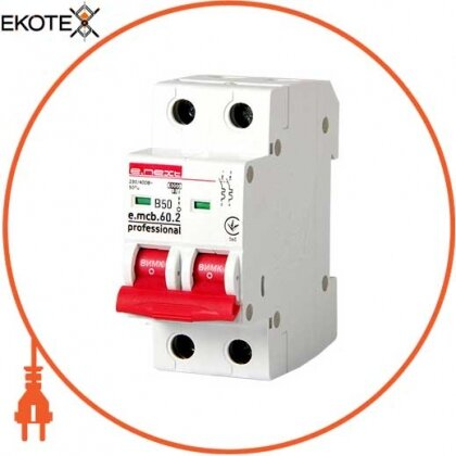 Enext p041022 модульный автоматический выключатель e.mcb.pro.60.2.b 50 new, 2р, 50а, в, 6ка, new