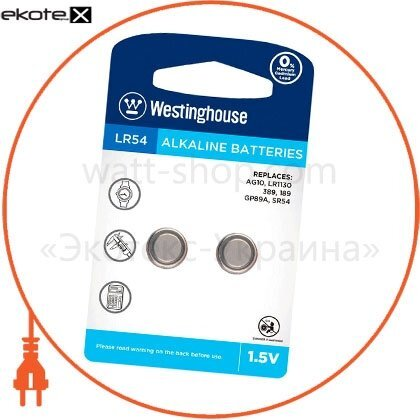 """Westinghouse LR54-BP2(AG10-BP2) щелочная батарейка westinghouse alkaline """"таблетка"""" lr54 2шт/уп blister"""