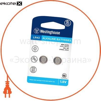 """Westinghouse LR43-BP2(AG12-BP2) щелочная батарейка westinghouse alkaline """"таблетка"""" lr43 2шт/уп blister"""