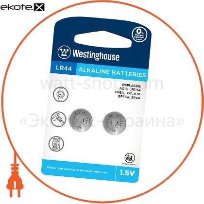 """Westinghouse LR44-BP2(AG13-BP2) щелочная батарейка westinghouse alkaline """"таблетка"""" lr44 2шт/уп blister"""