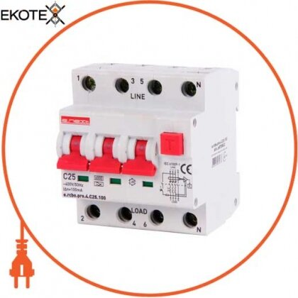 Enext p0720022 выключатель дифференциального тока с функцией защиты от сверхтоков e.rcbo.pro.4.с25.100, 3p+n, 25а, с, тип а, 100ма