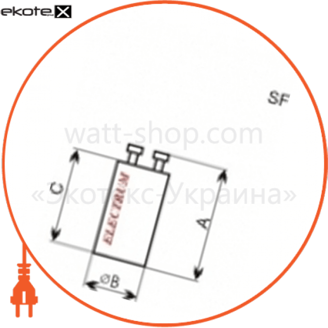 стартер s10 комплектующие для люминесцентных ламп Electrum D-SF-0406