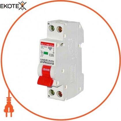 Enext p055002 модульный автоматический выключатель e.mcb.pro.60.1n.с20.thin, 1р + n, 20а, c, 4,5ка, тонкий