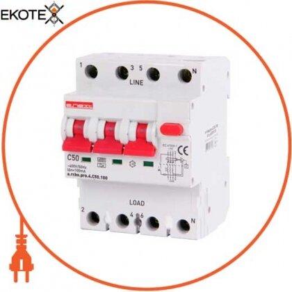 Enext p0720025 выключатель дифференциального тока с функцией защиты от сверхтоков e.rcbo.pro.4.с50.100, 3p+n, 50а, с, тип а, 100ма