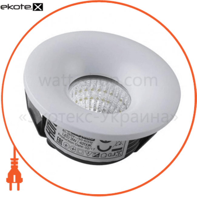 016-036-0003 Horoz Eelectric светодиодные светильники horoz eelectric світильник врізний круг,корпус метал d-48mm ip 20 cob led 3w 4200k 210lm колір - білий/мат.хром (85-265v)